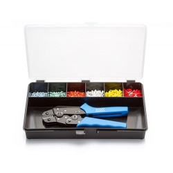 Cord End Ferrule Kit 01G, Crimp Tool and Assorted German Terminals