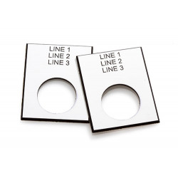 45 x 35mm Push Button Engraved Laminate Label with Custom Text, 1 Label