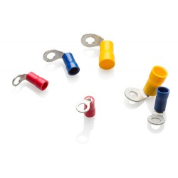 Red Right Angled Ring Terminal to fit 3mm Stud, Pack of 100