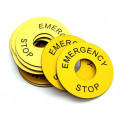 60mm Emergency Stop Engraved Laminate Label, Pack of 10