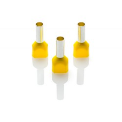 6mm Twin Cord End Ferrule, Yellow, Pack of 1000